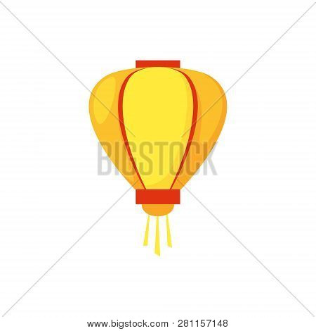 Colorful Flat Paper Street Chinese Lantern. Holiday Decorative Graphic Design Element. Hanging Light