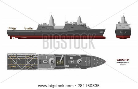 Detailed Image Of Military Ship. Top, Front And Side View. Battleship 3d Model. Industrial Isolated