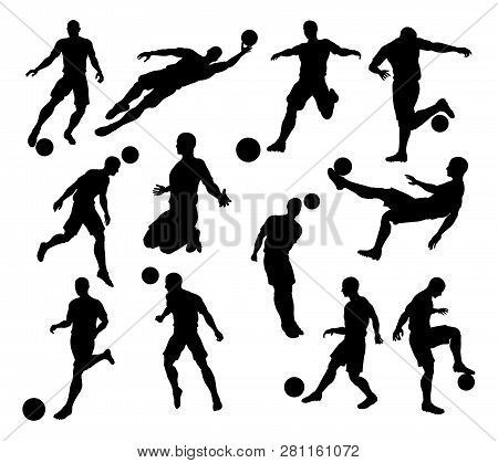 A Set Of Silhouette Soccer Players In Lots Of Different Poses