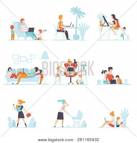Parents Working At Home On Computers Set, Their Children Playing Next To Them, Mothers And Fathers W