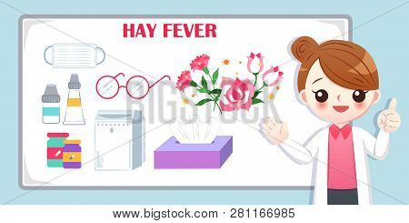 Cute Cartoon Doctor Introduce Feature Of Hay Fever On The Blue Background