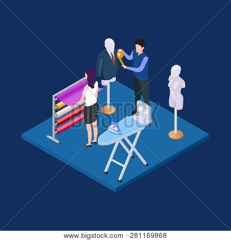 Clothing design, atelier 3d isometric vector concept isolated on background illustration poster