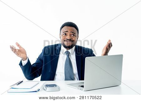 Portrait Of Angry And Frustrated Businessman Shouting At Laptop Desperate, Overworked And Stressed