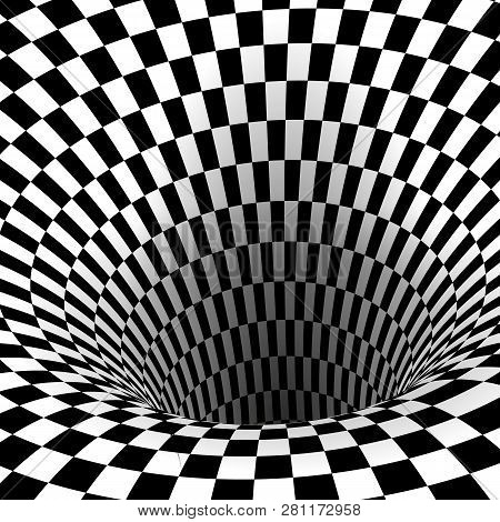 Abstract Wormhole Tunnel. Geometric Square Black And White Optical Illusion. Vector Illustration
