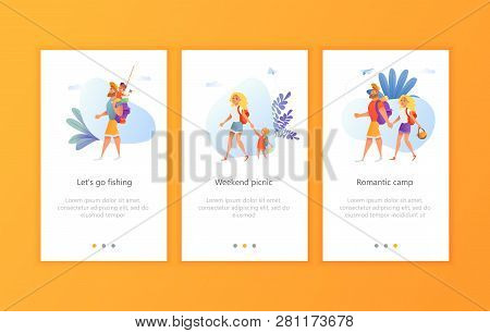 Cartoon Characters Of Family Camping Together. Father With Son And Mom With Daughter. Camp Hiking, P
