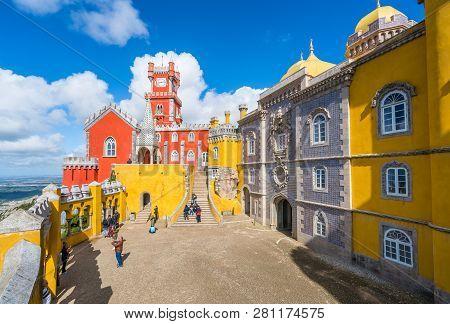 Sintra, Lisbon, Portugal - March 16, 2018: National Palace Of  Pena, Sintra Region, Lisbon, Portugal