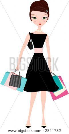 Mujer elegante con bolsas