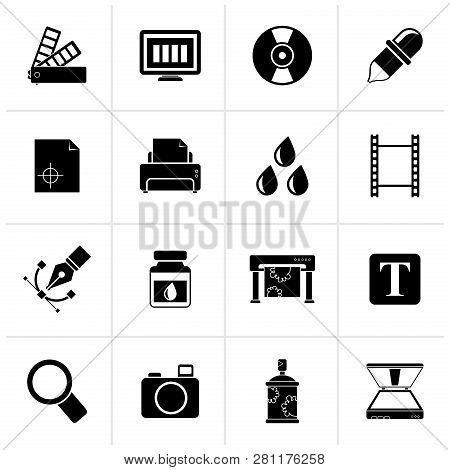 Black Print Industry And Graphic Design Icons - Vector Icon Set