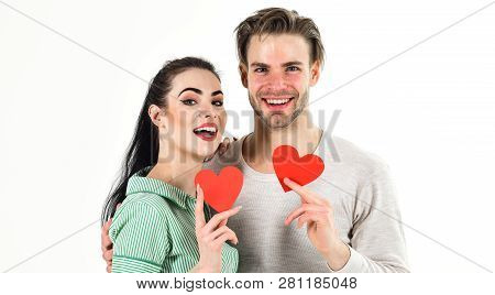 Handsome Unshaven Man And Pretty Girl In Love. Valentines Day And Love. Romantic Feelings Concept. M