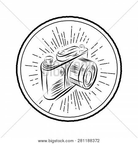 Vector Retro Camera In Line Art Design Isolated On White Background. Photocamera Vector Outline Icon