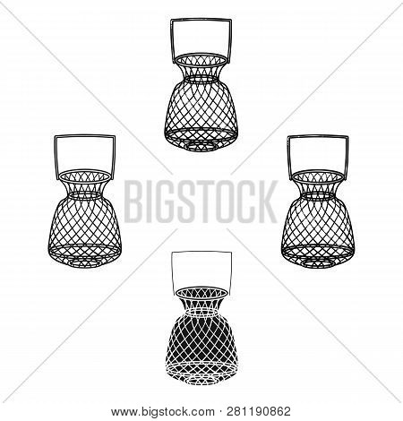 Fishing Net Icon In Cartoon Style Isolated On White Background. Fishing Symbol Stock Vector Illustra