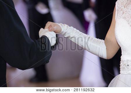 Wedding Theme, Holding Hands Newlyweds White Gloves