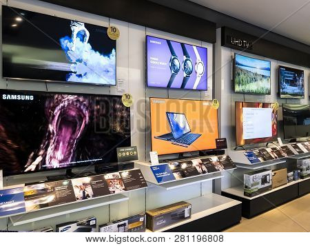 Moscow, Russia - January 27.2019. Modern Tvs In The Samsung Brand Store
