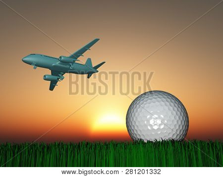 Aircraft in the sky and golf ball on green field. Sunset or sunrise. 3D rendering