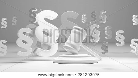 Judgment Gavel Paragraph Symbol Background 3d-illustration Image Graphic Design
