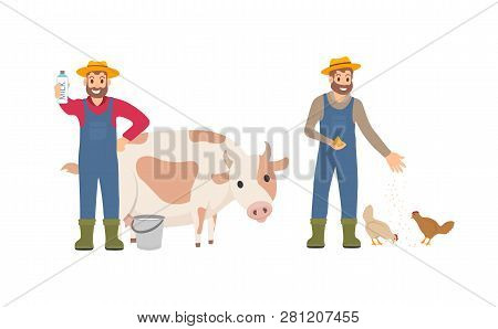 Farmer with milk package set. Person with bucket cow livestock. Animal tending and care for chickens, farming male feeding hens isolated icon vector poster