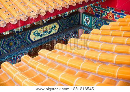 Roof Detail Of Chinese Temple Texture Background. Beautiful Chinese Temple Roof Detail With Colorful