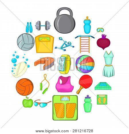 Gymnasium Icons Set. Cartoon Set Of 25 Gymnasium Icons For Web Isolated On White Background