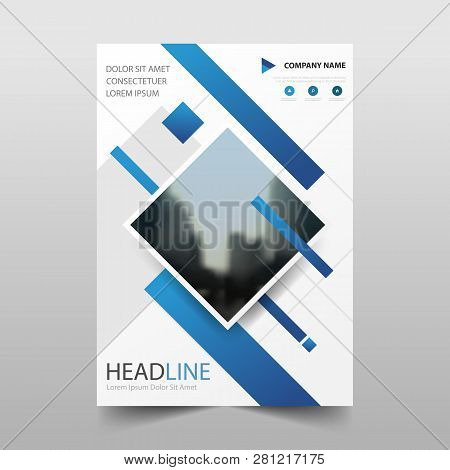 Blue Vector Annual Report Leaflet Brochure Flyer Template Design, Book Cover Layout Design, Abstract