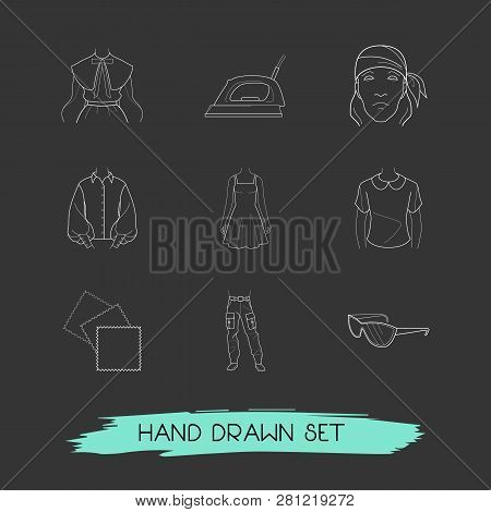Set Of Garment Icons Line Style Symbols With Bandanna, Puritan Collar, Denim Icons For Your Web Mobi