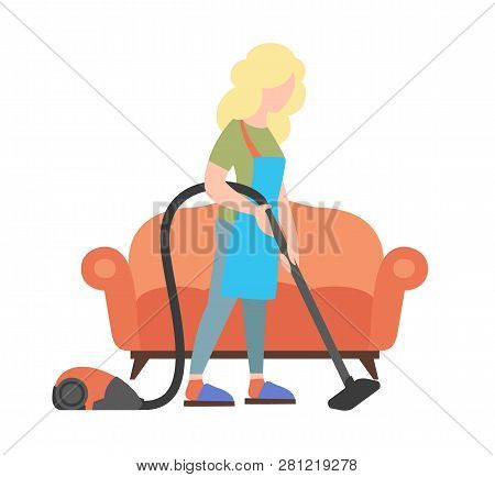 People Weekend Concept - Woman Cleaning House By Vacuum Cleaner On White Background, Flat Vector Ill