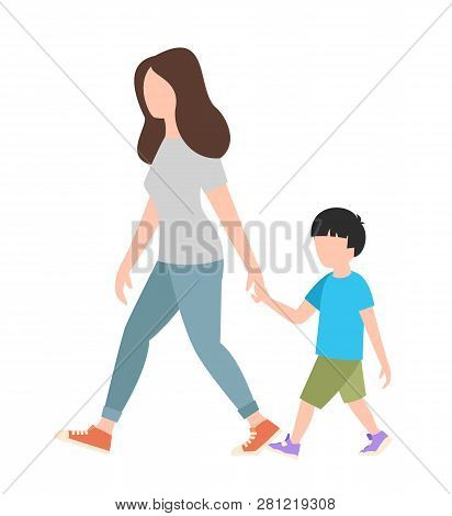 People Weekend Concept - Woman Walking With A Child On White Background, Flat Vector Illustration