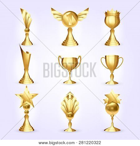 Trophy Cups Set Vector. Success Golden Trophy Award. Different Champion Icon. Winner Leader Prize. F