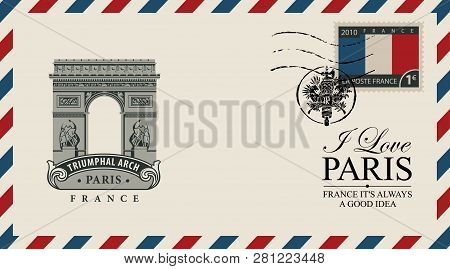 Vector Envelope Or Postcard In Retro Style With Triumphal Arch, Postmark In Form Of French Coat Of A