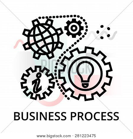 Business Process Icon On Abstract Background From Startup Set, Modern Editable Line Vector Illustrat