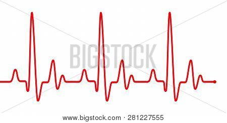 Red Heart Beat Pulse Graphic Line On White. Healthcare Medical Sign With Heart Cardiogram, Cardiolog