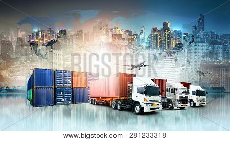 Global Business Logistics Import Export Background And Container Cargo Freight Ship Transport Concep
