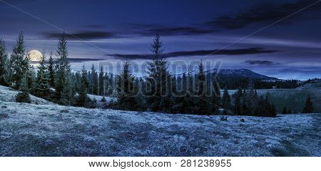 Panorama Of Beautiful Countryside In Mountains At Night In Full Moon Light. Spruce Trees On The Mead