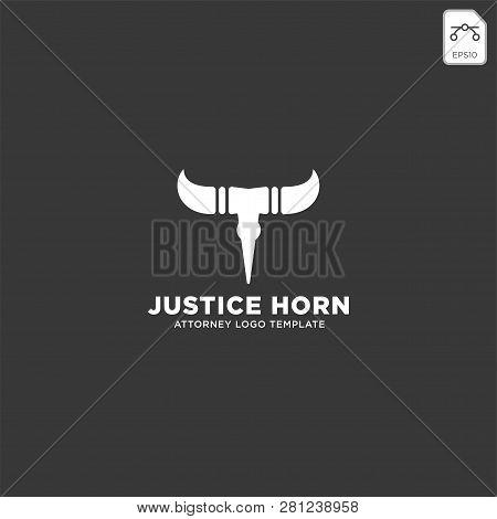 Horn Bull Attorney Logo Line Design Template Vector Illustration