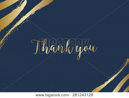 Golden Brush Strokes Thank You Card Template