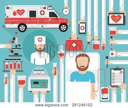 Mobile Station For Blood Transfusions And Blood Tests. The Concept Of Medicine And Health.vector Ill