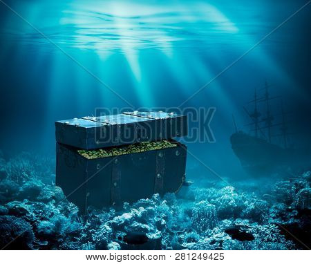 Treasures on the seabed. Sunken chest with gold and ship under water 3d illustration