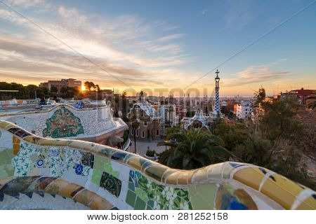 Barcelona, Spain - March 28, 2018: Sunrise view of the Park Guell in Barcelona, Spain.
