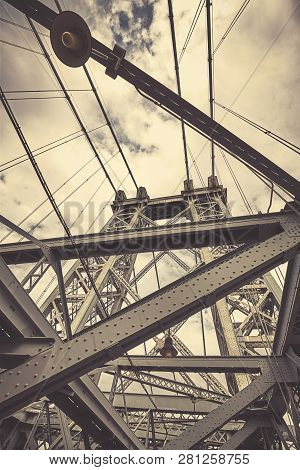 Looking Up At Williamsburg Bridge, Retro Color Toned Picture,  New York City, Usa.