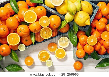 Fresh Citrus Fruits On Wooden Background Orange Fruits, Lemons, Tangerines, Limes. Healty Food, Vita