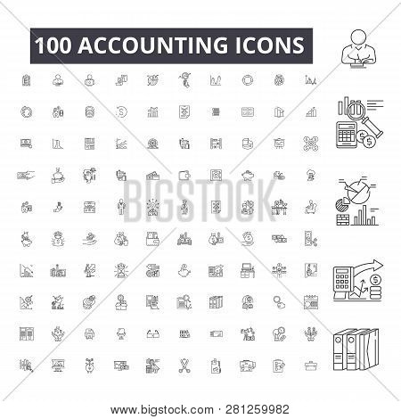 Accounting Editable Line Icons, 100 Vector Set On White Background. Accounting Black Outline Illustr