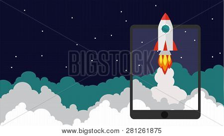 Successful Startup Business Concept. Vector Illustration With Rocket Launch And The Tablet On The Ba