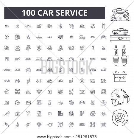 Car Service Editable Line Icons, 100 Vector Set, Collection. Car Service Black Outline Illustrations
