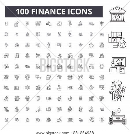 Finance Editable Line Icons, 100 Vector Set, Collection. Finance Black Outline Illustrations, Signs,