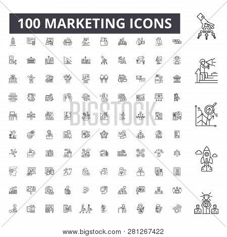 Marketing Editable Line Icons, 100 Vector Set, Collection. Marketing Black Outline Illustrations, Si