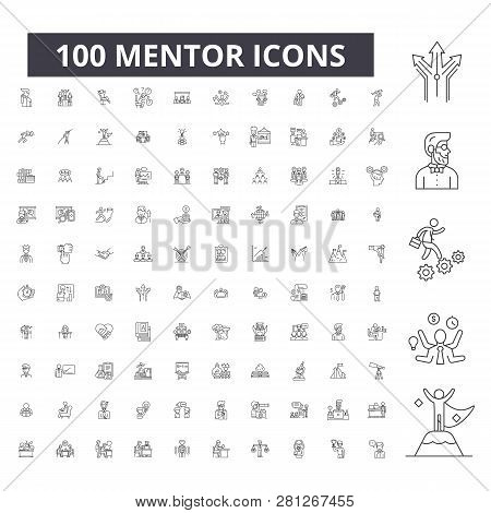 Mentor Editable Line Icons, 100 Vector Set, Collection. Mentor Black Outline Illustrations, Signs, S