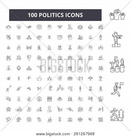 Politics Editable Line Icons, 100 Vector Set, Collection. Politics Black Outline Illustrations, Sign
