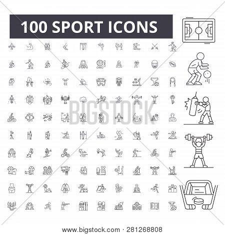 Sport Editable Line Icons, 100 Vector Set, Collection. Sport Black Outline Illustrations, Signs, Sym