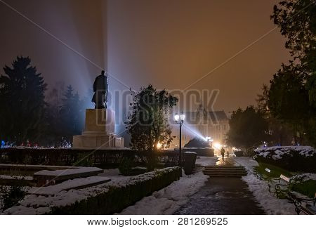 Night Scene Outdoor In The Main Park Of Satu Mare With Mysterious Lights Over Vasile Lucaciu Histori