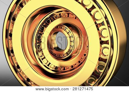 3d Rendering. Automotive Gold Bearings Auto Spare Parts. Tapered Roller Bearing Isolated On A Dark B