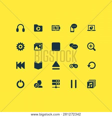 Media Icons Set With Stop, Setting, Charging And Other Media Folder Elements. Isolated  Illustration